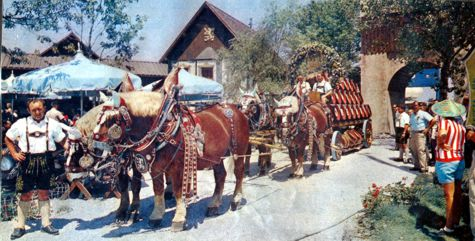 Horse-drawn wagon at Lowenbrau