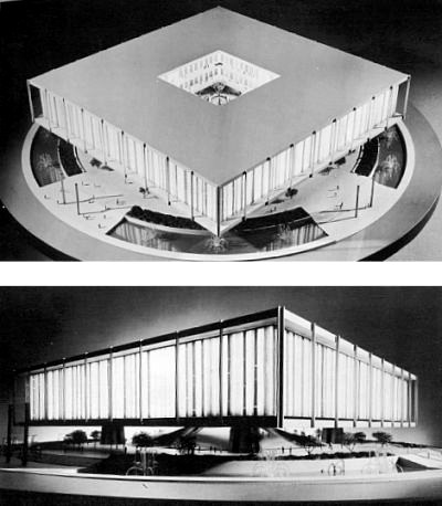 Architectural model view of the US Pavilion