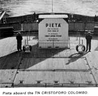 The Pieta on the deck of the CHRISTFORO COLOMBO